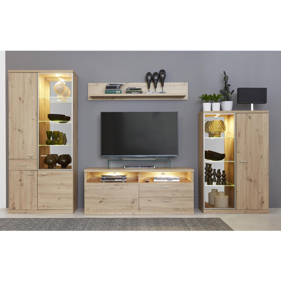 Echo LED Living Room Furniture Set In Artisan Oak