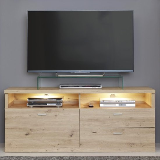 Echo LED TV Stand In Artisan Oak With 1 Door And 2 Drawers