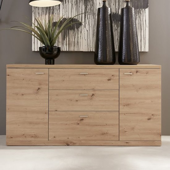 Echo Sideboard In Artisan Oak With 2 Doors And 3 Drawers