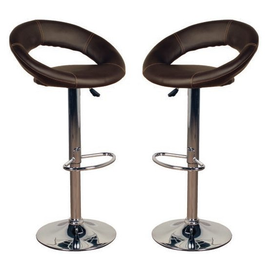 Eclipse Brown Leather Bar Stools In Pair