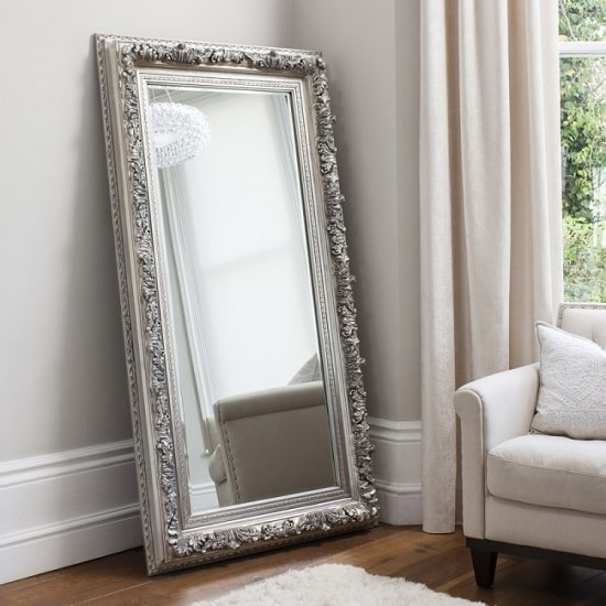 Eclipse Leaner Floor Mirror Rectangular In Silver 33983