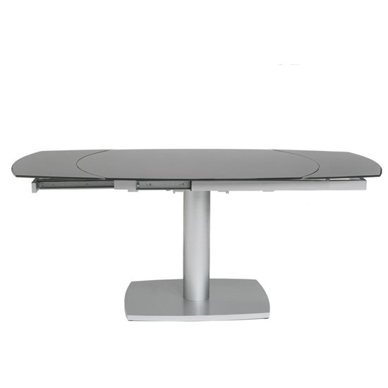 Eclipse Oval Extending Grey Glass Dining Table With Silver Frame_1