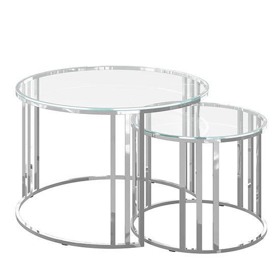 Eclipse Set Of 2 Glass Coffee Tables With Stainless Steel Legs