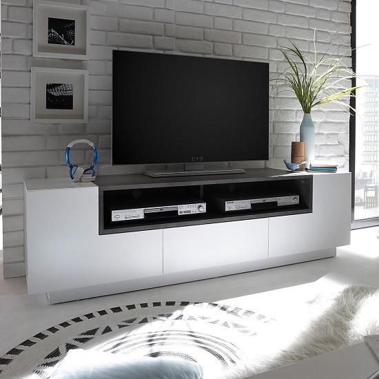 Eclipse Lowbord TV Stand In Matt White And Concrete