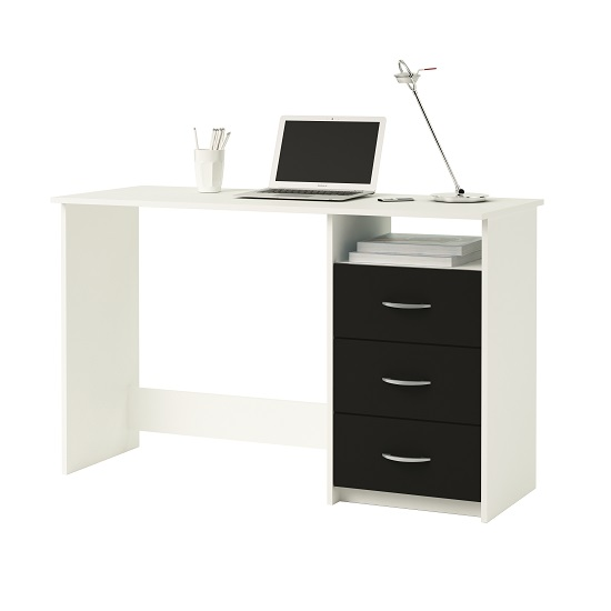 Eddings Wooden Computer Desk In Pearl White And Black