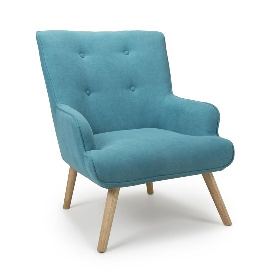 Eden Fabric Armchair In Chenille Effect Turquoise Blue