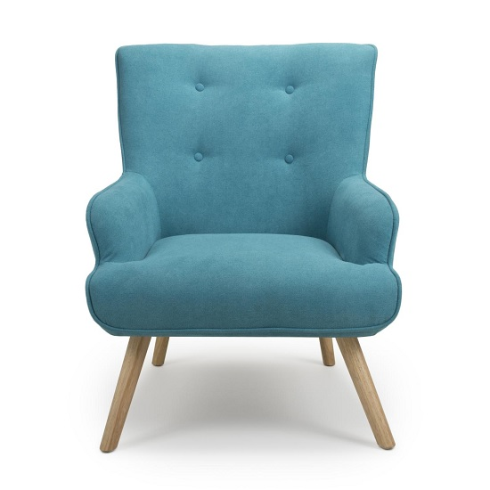 Eden Fabric Armchair In Chenille Effect Turquoise Blue_4