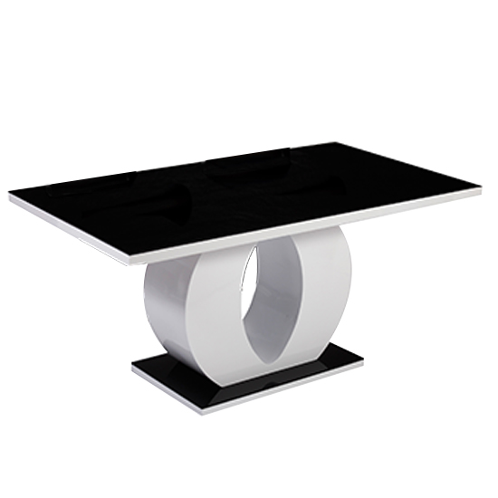 Edenhall Glass Dining Table In Black And White High Gloss_1