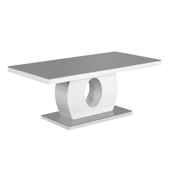 Edenhall Grey Glass Coffee Table In High Gloss Grey And White