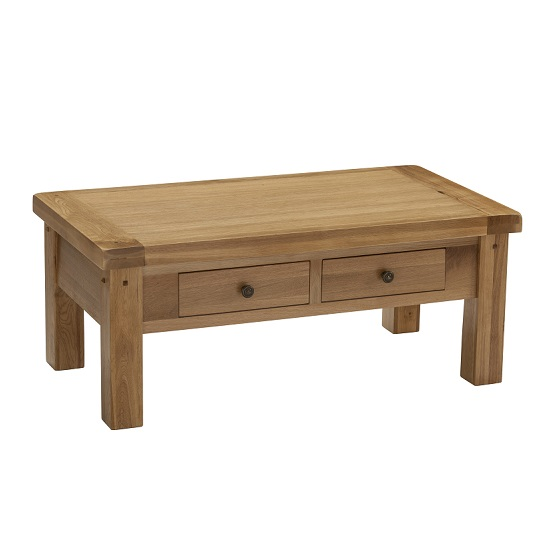 Edinburgh Coffee Table In White Oak With 2 Drawers
