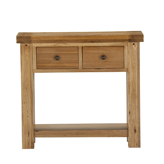 Edinburgh Console Table In White Oak With 2 Drawers 27810