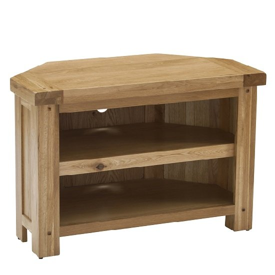 Edinburgh Wooden Corner TV Stand In White Oak 27814
