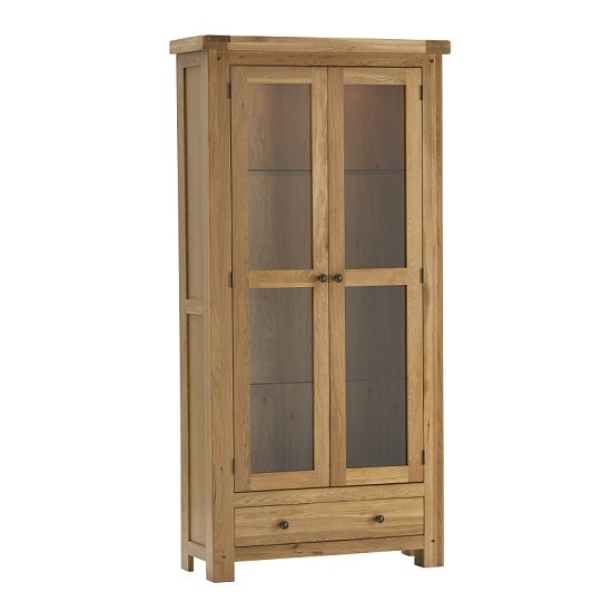 Edinburgh Display Cabinet In White Oak With 2 Doors And Lights