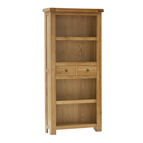 Edinburgh Tall Bookcase In White Oak With 2 Drawers
