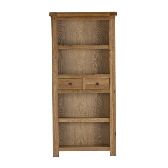 Edinburgh Tall Bookcase In White Oak With 2 Drawers 27813