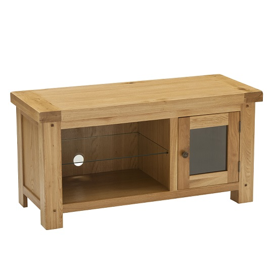 Edinburgh Rectangular TV Stand In White Oak With 1 Door