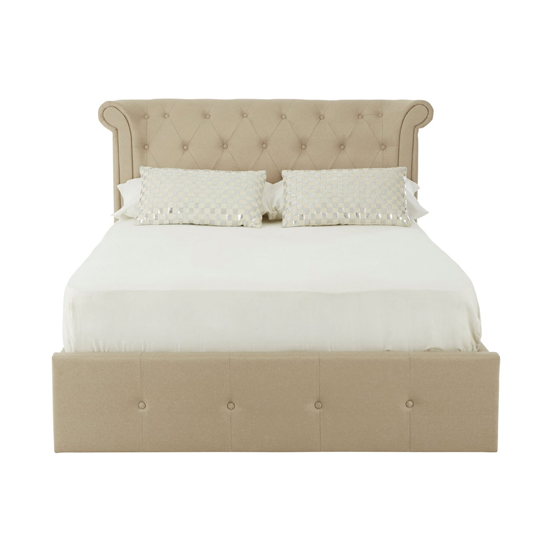 Edison Wooden Double Ottoman Bed In Beige