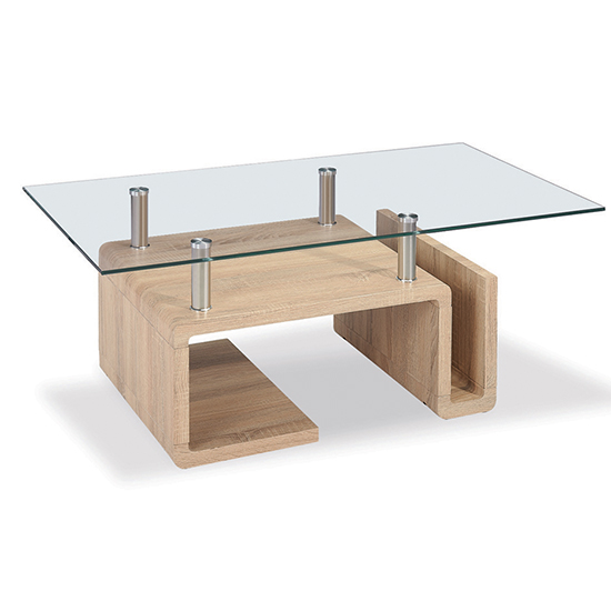 Edith Glass Coffee Table With Natural