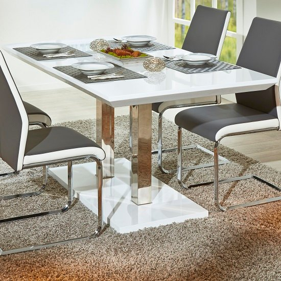 Edmonton Modern Extendable Dining Table In White High Gloss
