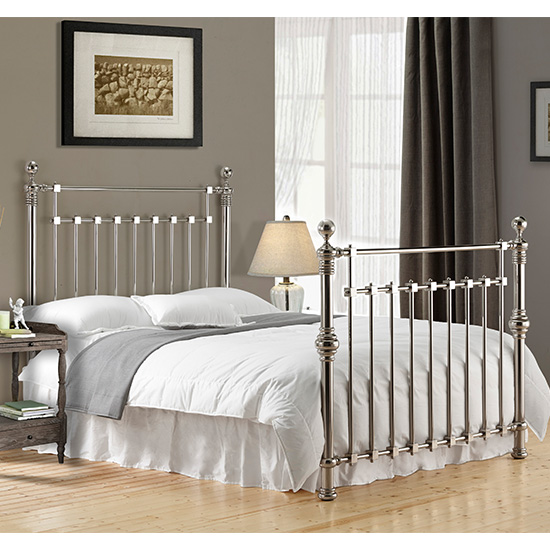 Edward Metal King Size Bed In Chrome