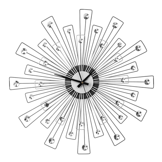 Efroya Spoke Design Wall Clock In Black And Silver