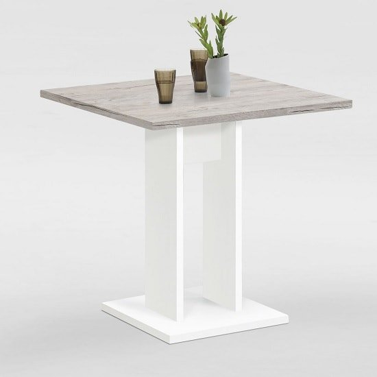 Eiffel Wooden Dining Table Square In Sand Oak And White