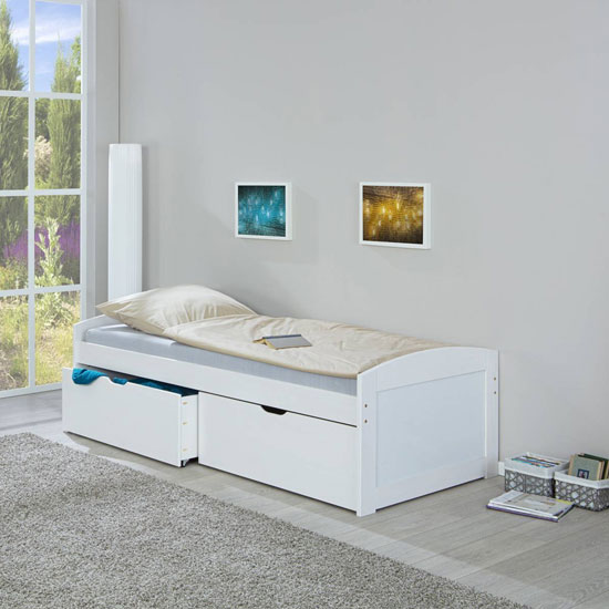 Einar Wooden Functional Single Bed In White