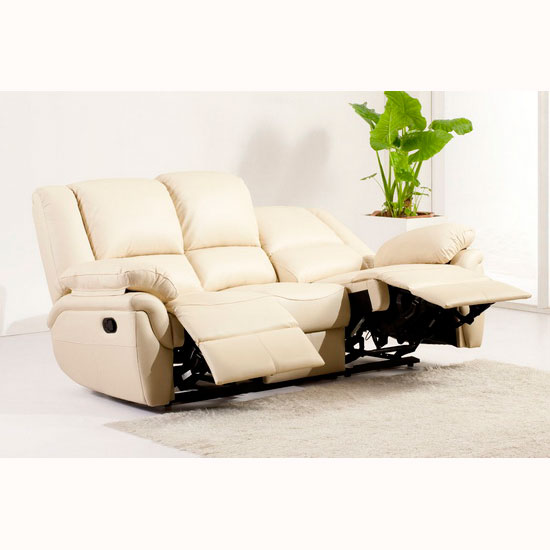 Elan Leather Recliner Sofa 3 Suite Cream