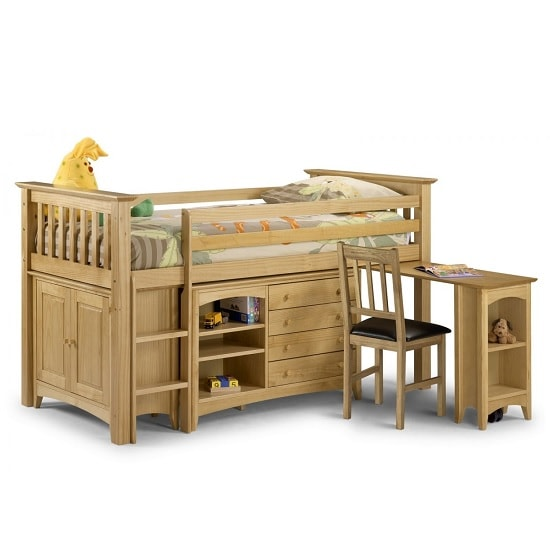 Elanor Wooden Sleep Station In Solid Pine With Left Hand Ladder