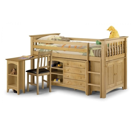 Elanor Wooden Sleep Station In Solid Pine With Right Hand Ladder