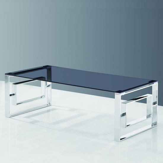 Elba Glass Coffee Table In Smoke With Polished Steel Frame