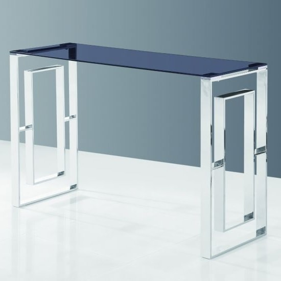 Elba Glass Console Table In Smoke With Polished Steel Frame
