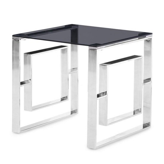 Elba Glass Side Table In Smoke With Polished Steel Frame_2