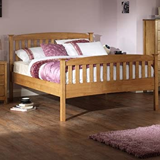 Eleanor High Footend Wooden Double Bed In Oak