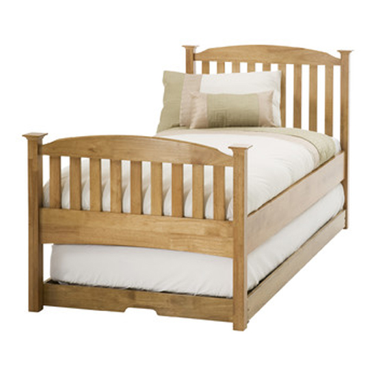Eleanor High Footend Wooden Single Bed And Guest Bed In Oak