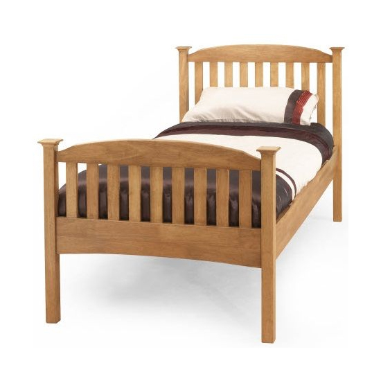 Eleanor High Footend Wooden Single Bed In Oak