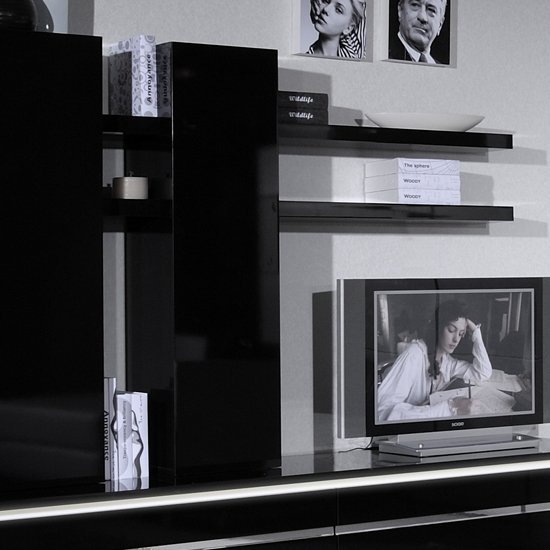 Elisa Wall Mounted Display Unit In Black Lacquer With Shelves