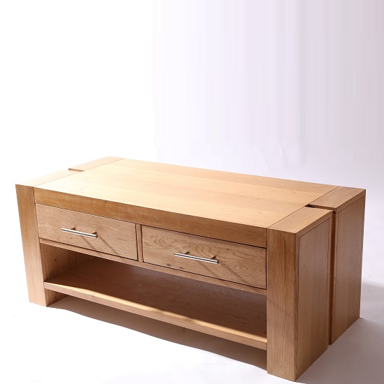 Electra Wooden Coffee Table With 2 Drawers