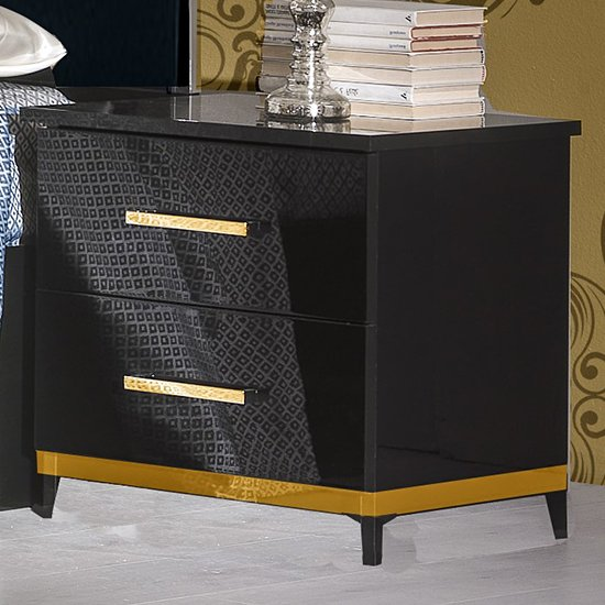 Elegance Bedside Cabinet In Black Gloss And Gold With 2 Drawers