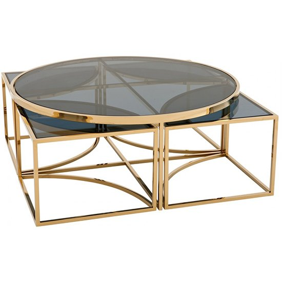 Elena Black Glass Coffee Table With Gold Stainless Steel Legs