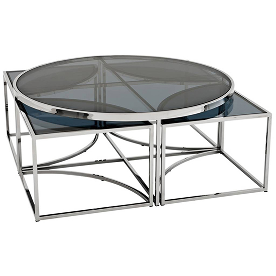 Elena Black Glass Coffee Table With Silver Stainless Steel Legs