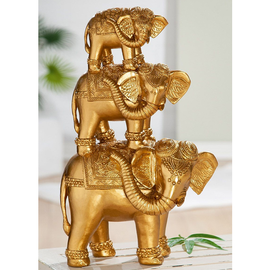 Elephant Polyresin Sculpture In Gold