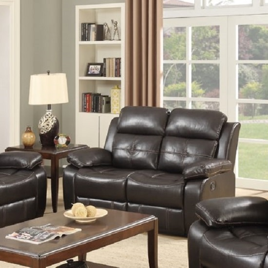 Elessia Reclining 2 Seater Sofa In Dark Brown Faux Leather