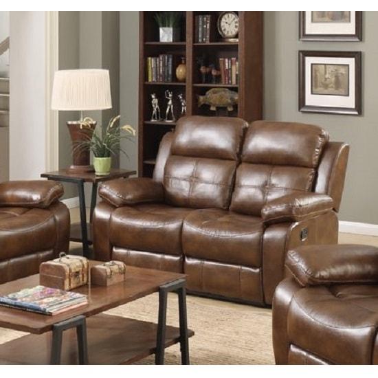Image of Elessia Reclining 2 Seater Sofa In Tan Faux Leather