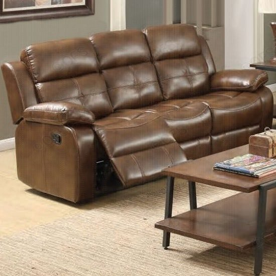 Elessia Reclining 3 Seater Sofa In Tan Faux Leather ...