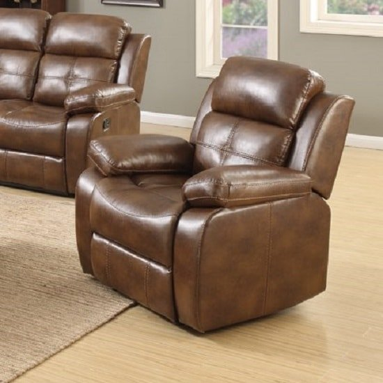 Image of Elessia Reclining Sofa Chair In Tan Faux Leather