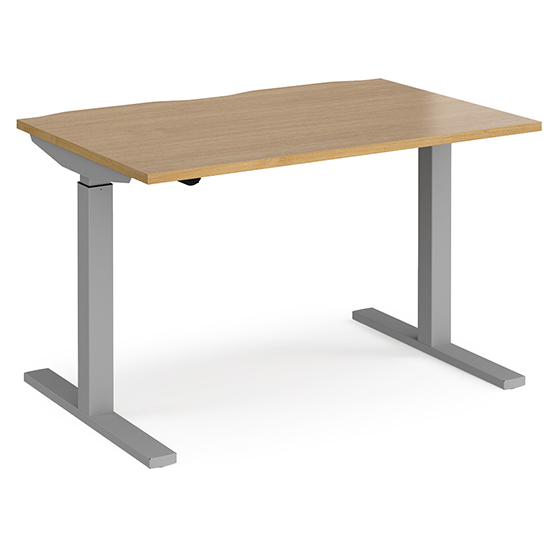 View Elev 1200mm electric height adjustable desk in oak and silver
