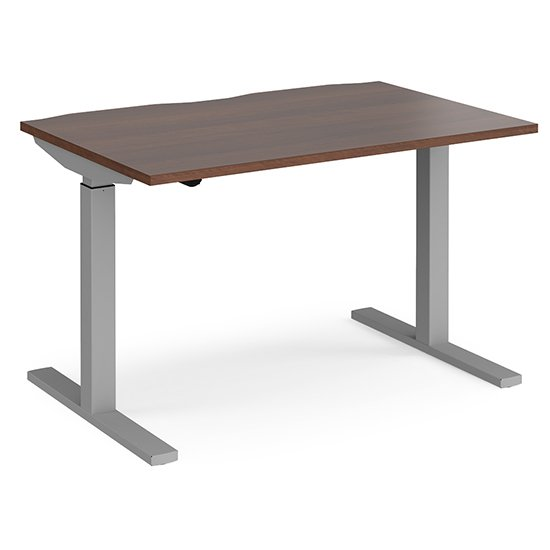 View Elev 1200mm electric height adjustable desk in walnut and silver