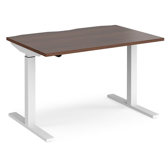 Elev 1200mm Electric Height Adjustable Desk In Walnut And White
