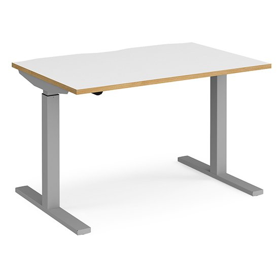 View Elev 1200mm electric height adjustable desk in white oak silver
